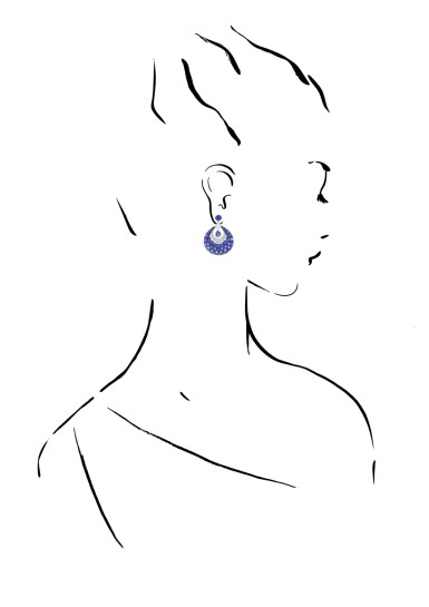 View 4. Thumbnail of Lot 1102. Pair of sapphire and diamond earrings.