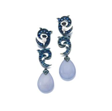 View 3. Thumbnail of Lot 138. Pair of sapphire and chalcedony earrings (Paio di orecchini in zaffiri e calcedonio).