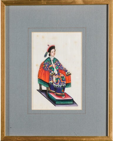 View 11. Thumbnail of Lot 163. A set of fourteen Chinese paintings on silk, Canton, 19th century.