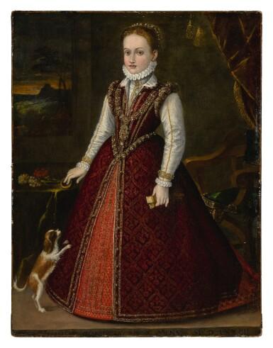 View 1. Thumbnail of Lot 508. ORAZIO VECELLIO | PORTRAIT OF MARGHERITA GONZAGA (1564 - 1618), AGE 10, FULL LENGTH, WITH A DOG.