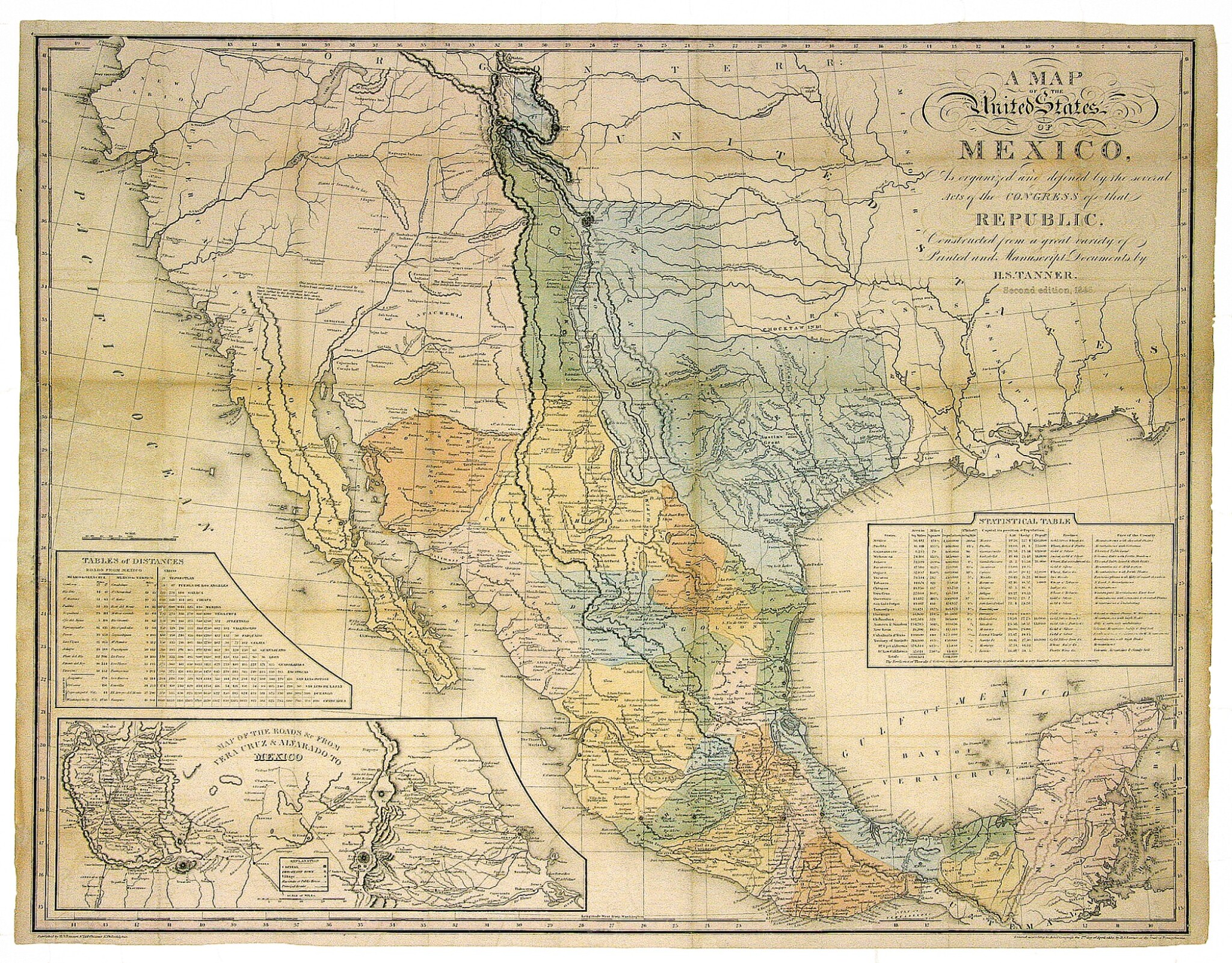 View full screen - View 1 of Lot 260. Tanner, H.[enry] S.[chenck] |  An important map of Mexico and the southwestern United States, depicting Texas in its largest form.