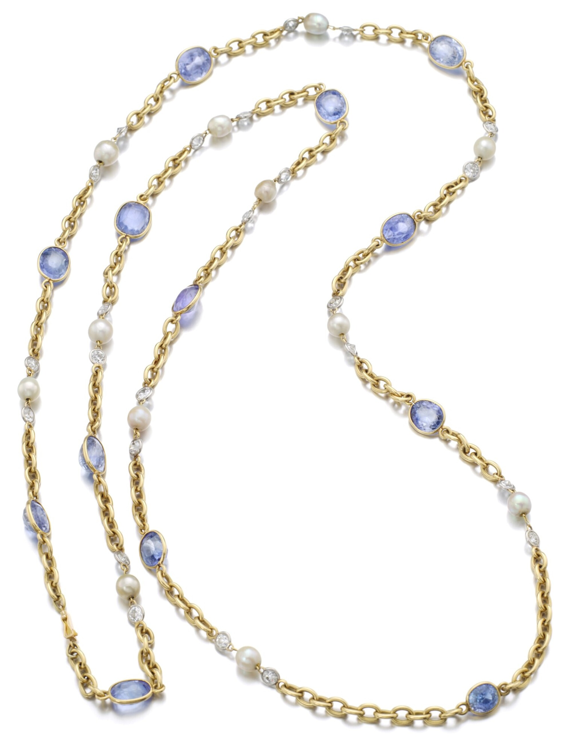 View full screen - View 1 of Lot 152. SAPPHIRE AND NATURAL PEARL SAUTOIR.