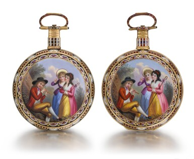 View 1. Thumbnail of Lot 293. EDOUARD JUVET, FLEURIER | A MATCHED PAIR OF FINE GOLD AND ENAMEL OPEN-FACED WATCHES MADE FOR THE CHINESE MARKET, CIRCA 1865, NO. 41981 AND 42308.