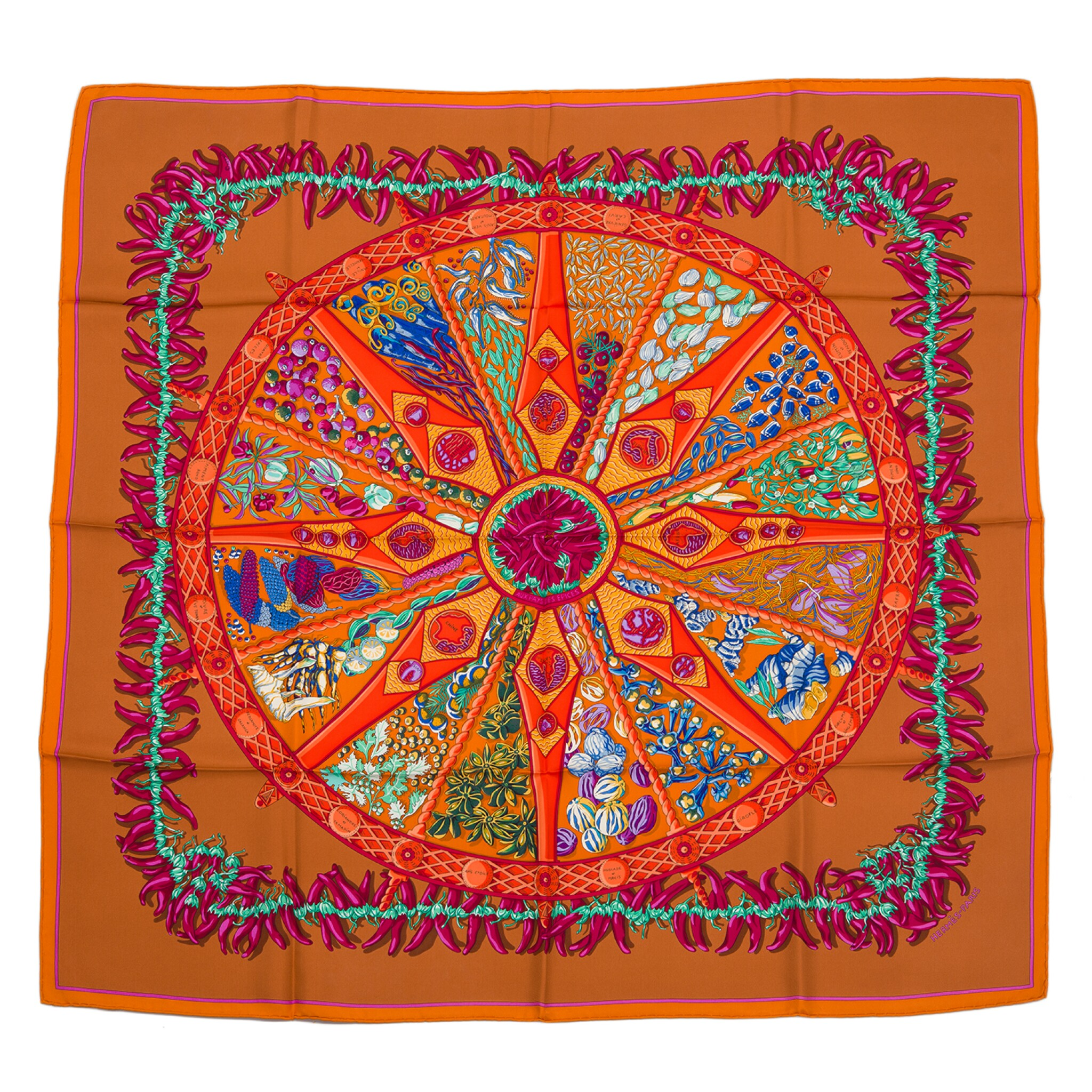 """View full screen - View 1 of Lot 143. Hermès """"Aux Pays des Epices"""" Silk Twill Scarf 90cm."""