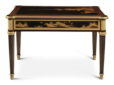 View 5. Thumbnail of Lot 179. A LOUIS XVI GILT BRONZE-MOUNTED EBONY AND JAPANESE LACQUER CENTRE TABLE BY LEVASSEUR, LATE 18TH/EARLY 19TH CENTURY.