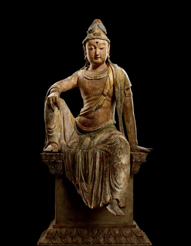 View 5. Thumbnail of Lot 8002. A magnificent and extremely rare large wood sculpture of Avalokiteshvara, Song dynasty   宋 木雕加彩觀世音菩薩坐像.
