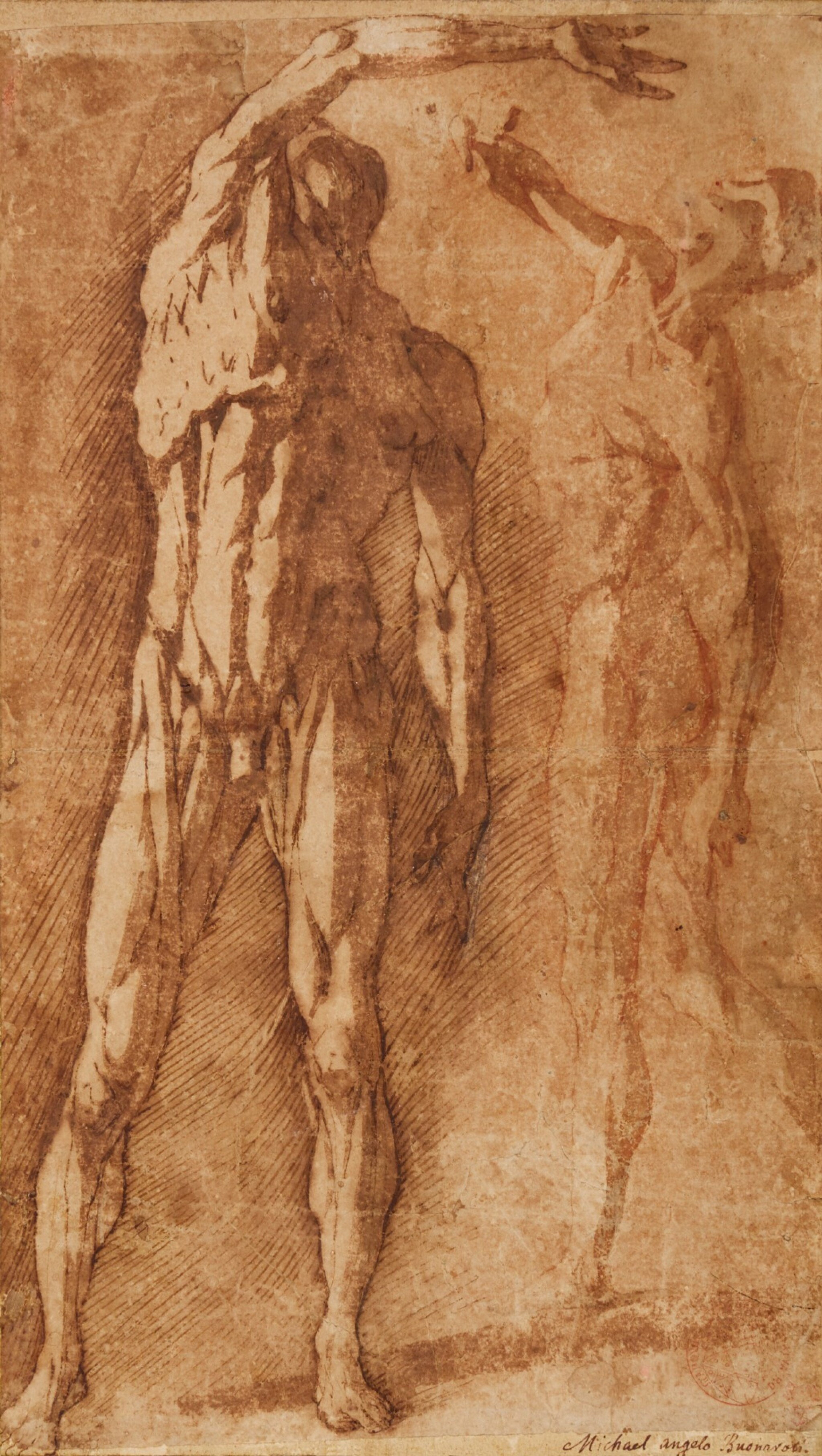 View full screen - View 1 of Lot 45. ANDREA BOSCOLI  |  TWO STUDIES OF A FLAYED MALE NUDE, AFTER PIETRO FRANCAVILLA.