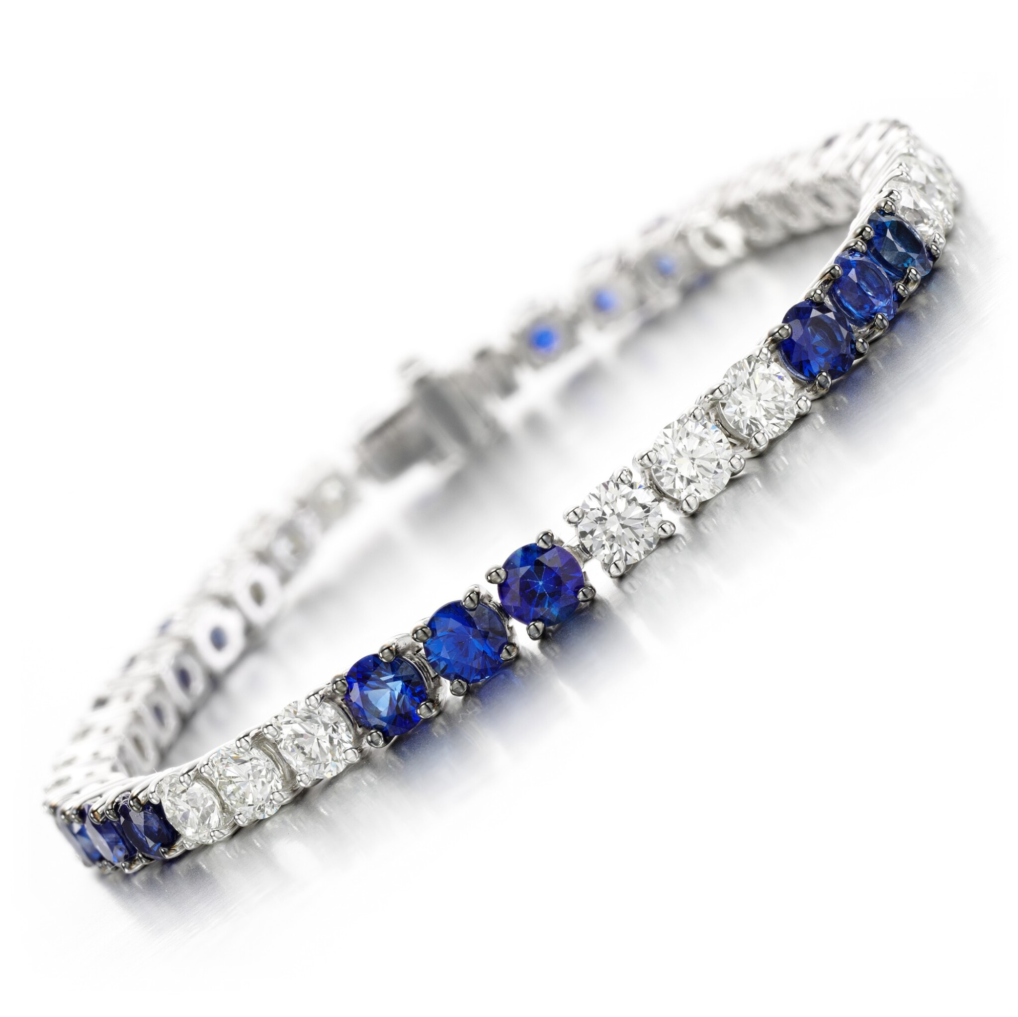 View full screen - View 1 of Lot 146. Sapphire and diamond bracelet.
