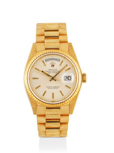 ROLEX | DAY-DATE, REF 18038 YELLOW GOLD WRISTWATCH WITH DAY, DATE AND BRACELET CIRCA 1980
