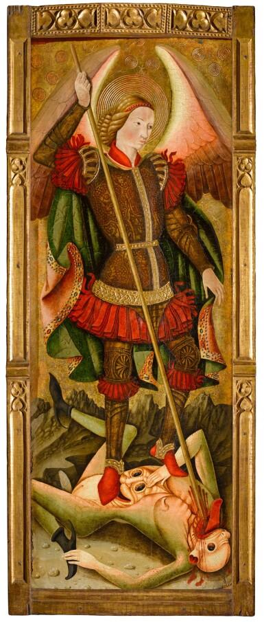 View 3. Thumbnail of Lot 25. MAESTRO DE LOS FLORIDA (JUAN DE BONILLA? DOC. 1442–78) |  SAINT MICHAEL VANQUISHING THE DEVIL   .