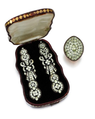 View 2. Thumbnail of Lot 214. PAIR OF CHRYSOBERYL EARRINGS AND A RING.