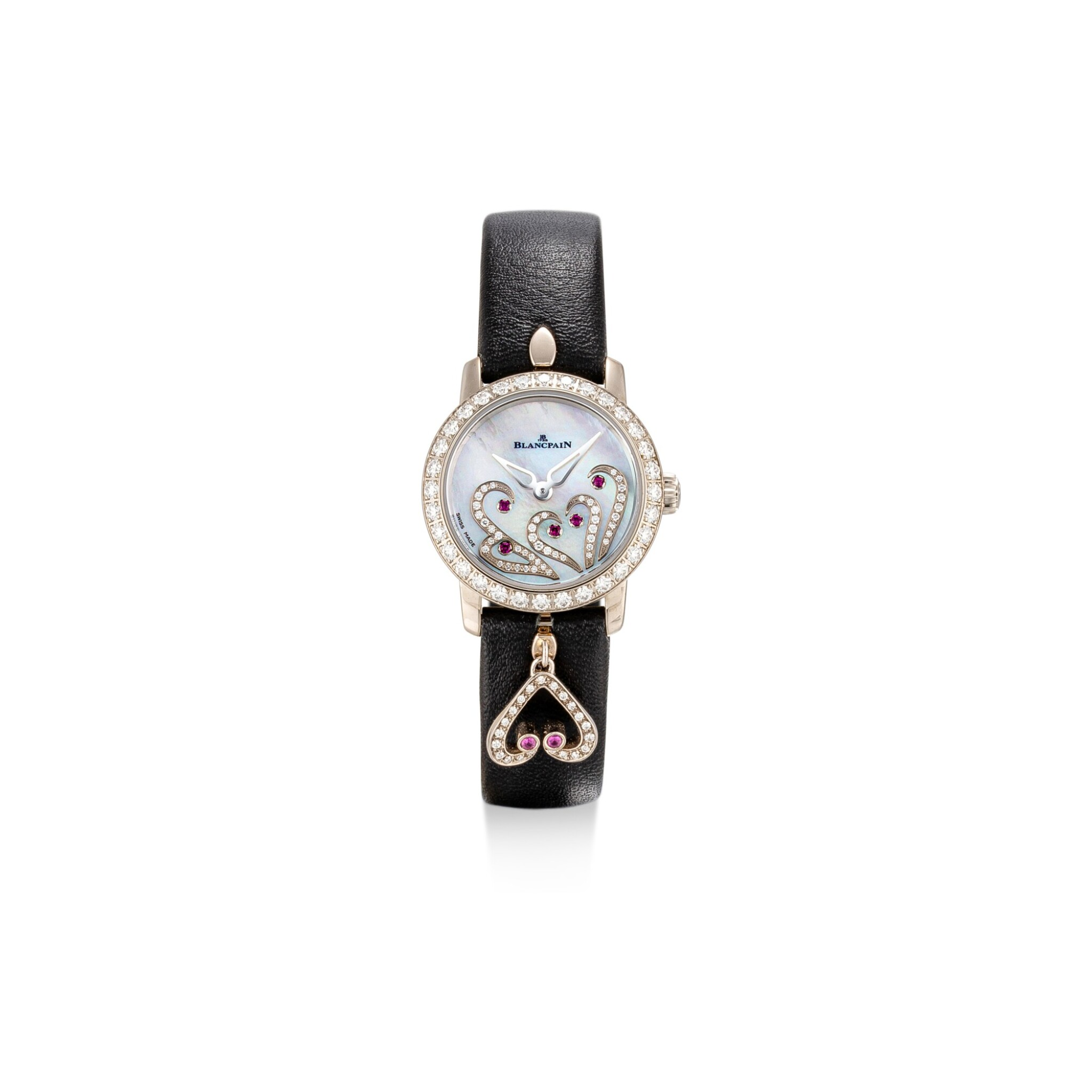 View full screen - View 1 of Lot 1102. BLANCPAIN | LADYBIRD, REFERENCE 0063B-1954-63A A WHITE GOLD, DIAMOND AND RUBY-SET WRISTWATCH WITH MOTHER-OF-PEARL DIAL, CIRCA 2017.