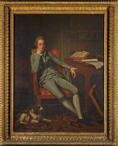 View 2. Thumbnail of Lot 110. Portrait of William Eden, 1st Lord Auckland (1744-1814), seated with his dog in a drawing room.
