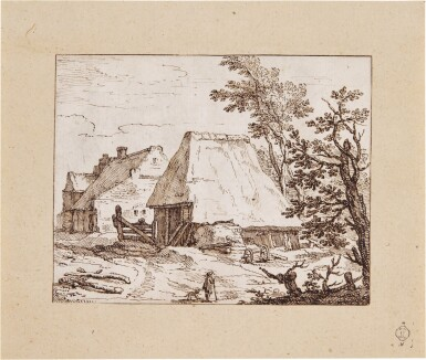 View 2. Thumbnail of Lot 42. View of Thatched Farm Buildings, with a farmer and his Dog in the Foreground.