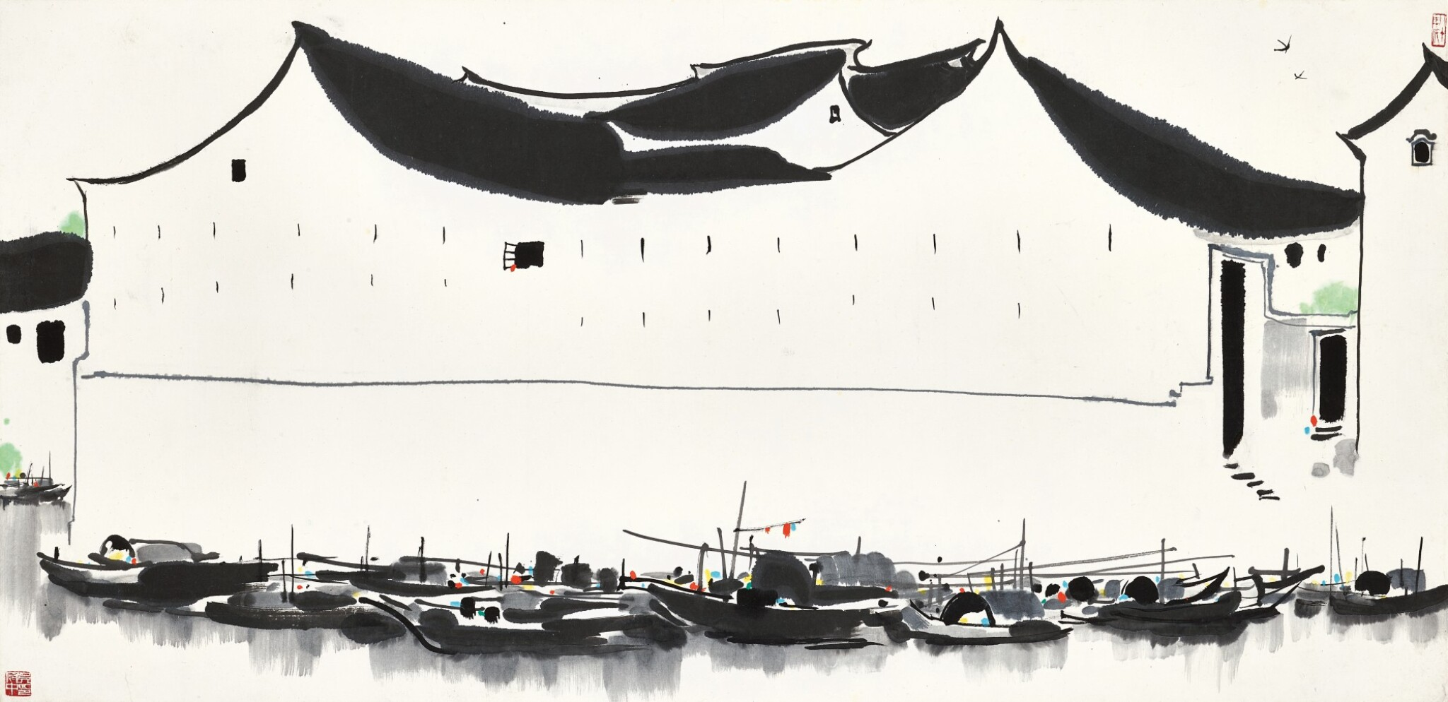 View full screen - View 1 of Lot 2621.  Wu Guanzhong 吳冠中   Residence by the Dock 泊岸.