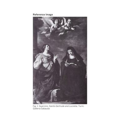 View 2. Thumbnail of Lot 41. GIOVANNI FRANCESCO BARBIERI, CALLED GUERCINO | A FLYING PUTTO HOLDING A BASKET WITH FLOWERS.