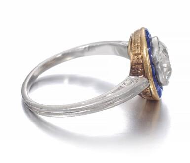 View 2. Thumbnail of Lot 665. Diamond and sapphire ring, circa 1915 | 鑽石配藍寶石戒指,約1915年.