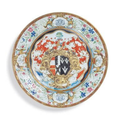 View 1. Thumbnail of Lot 1880. A CHINESE EXPORT ARMORIAL PLATE, QING DYNASTY, QIANLONG PERIOD, CIRCA 1743   清乾隆 約1743年 粉彩紋章圖盤.