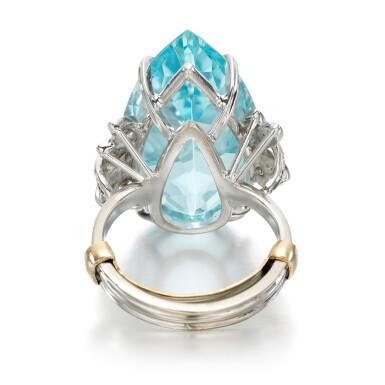 View 3. Thumbnail of Lot 56. Aquamarine and diamond ring.