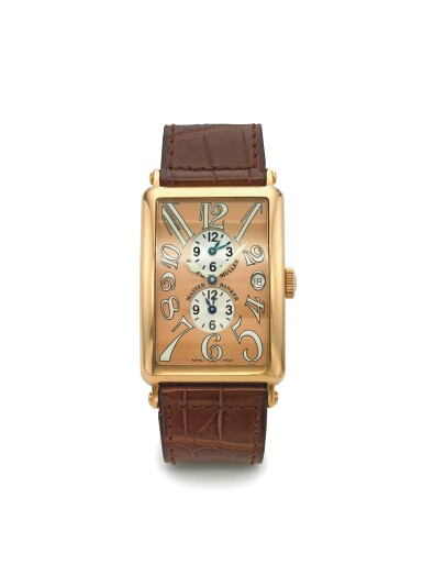 FRANCK MULLER | REF 1200 MASTER BANKER LONG ISLAND, A PINK GOLD RECTANGULAR AUTOMATIC TRIPLE TIME WRISTWATCH WITH DATE CIRCA 2010