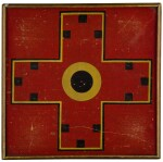 AMERICAN POLYCHROME-PAINTED WOODEN DOUBLE-SIDED PARCHEESI GAMEBOARD, CIRCA 1880