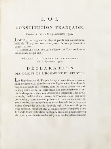 View 2. Thumbnail of Lot 10. La Constitution française. Strasbourg, [1791]. In-4. Exemplaire du baron de Dietrich, premier maire de Strasbourg..