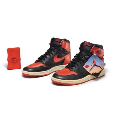 View 1. Thumbnail of Lot 7.  Peter Moore | 'Bred' Nike Air Jordan 1 High OG (1985) | Size 11.5.
