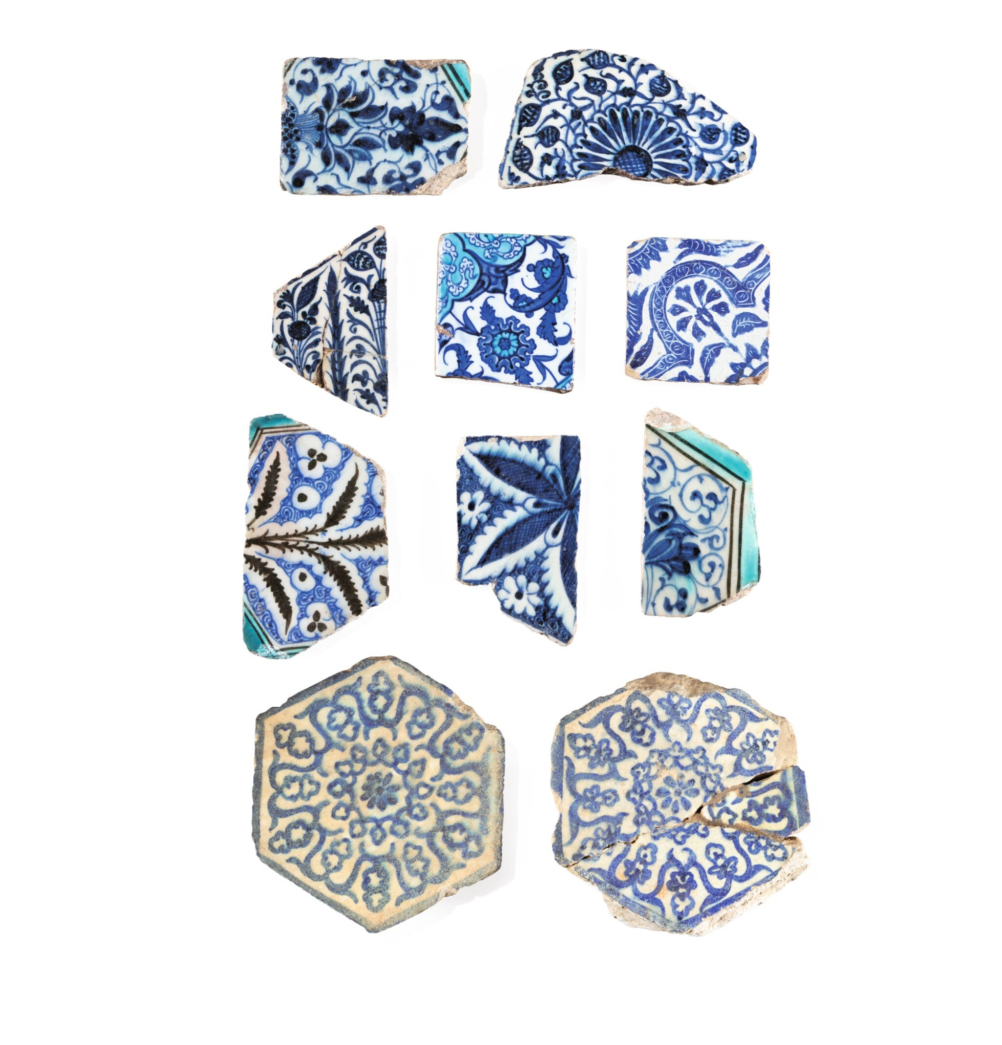 View full screen - View 1 of Lot 129. Ten Pottery Tile Fragments, Mamluk, Ottoman, Timurid and European, 15th-18th centuries.