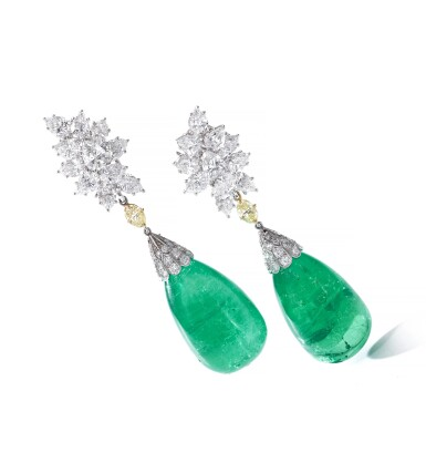 View 4. Thumbnail of Lot 107. Harry Winston | Pair of impressive emerald and diamond ear clips.