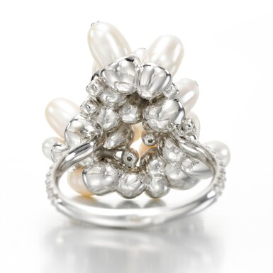 View 3. Thumbnail of Lot 46. Cultured pearl and diamond ring, 'Tzigane'.