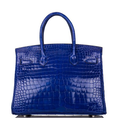 View 4. Thumbnail of Lot 7. Hermès Bleu Electrique Birkin 30cm of Shiny Porosus Crocodile with Palladium Hardware.
