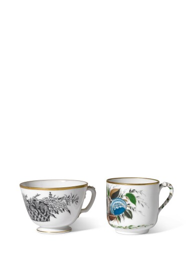 Two Soviet porcelain cups, State Porcelain Factory, Petrograd, 1922 and 1923