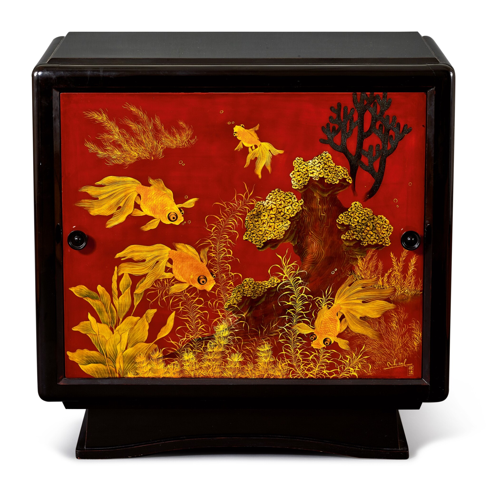 View full screen - View 1 of Lot 2031. Truong Van Thanh | A lacquer cabinet with a panel decorated with fish 漆木櫃, 畫板彩繪金魚.