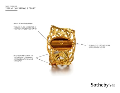 View 4. Thumbnail of Lot 48. BUECHE GIROD | AN UNUSUAL YELLOW GOLD CUFF WATCH WITH TIGER'S EYE DIAL CIRCA 1975.