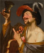 A merry violinist holding a roemer