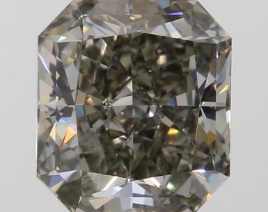 A 1.04 Carat Fancy Dark Greenish Gray Cut-Cornered Rectangular Modified Brilliant-Cut Diamond, SI1 Clarity