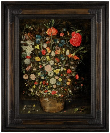 View 2. Thumbnail of Lot 25. Still life with a large bouquet of flowers in a wooden bucket, including a crown imperial lily, roses, tulips and other flowers, with butterflies, insects and berries on the shelf beneath |《靜物畫:木盆裡的大束鮮花,包括一朵冠花貝母、玫瑰、鬱金香,盆架上有蝴蝶、昆蟲、莓果》.