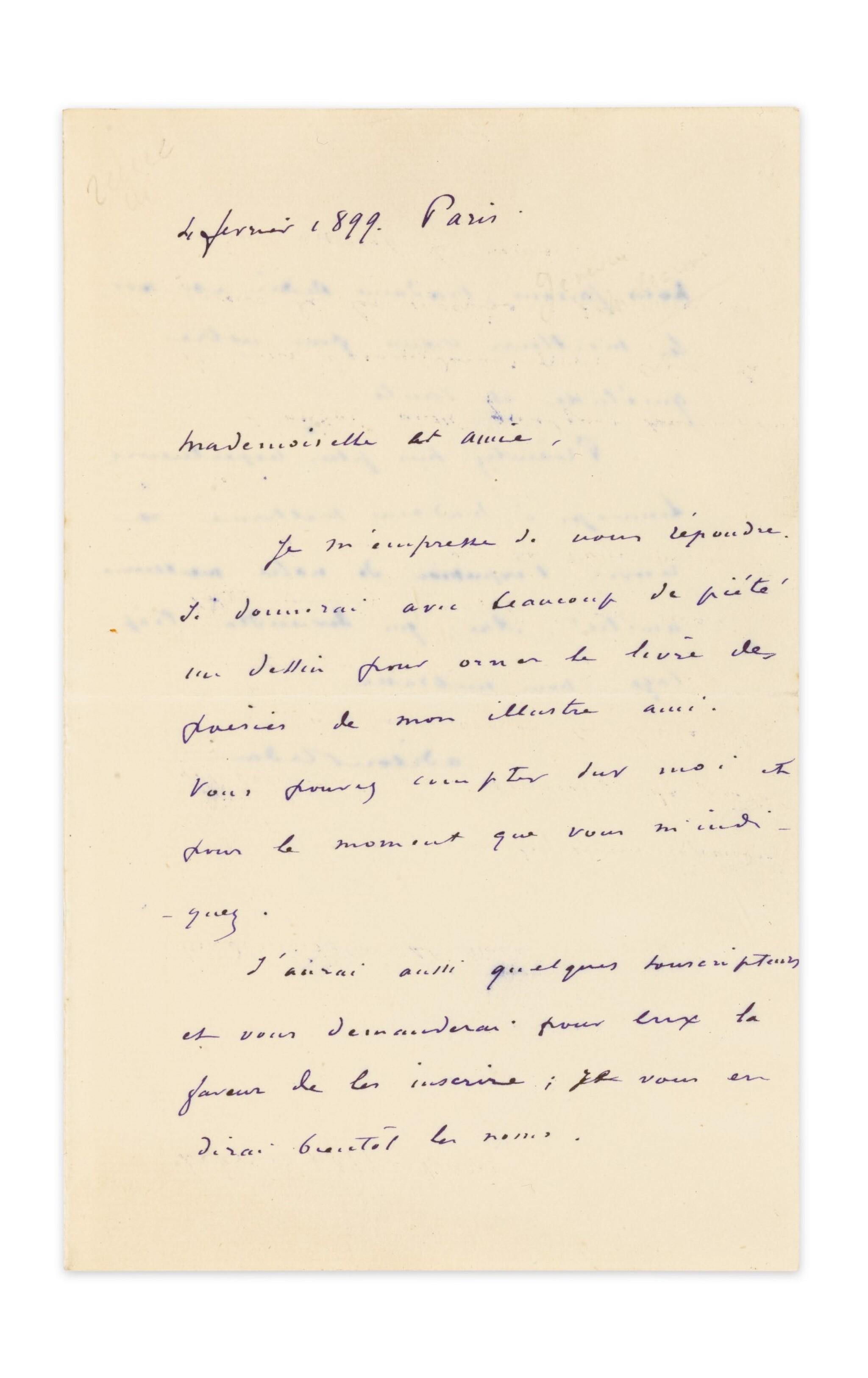 View 1 of Lot 253. REDON, Odilon. Lettre autographe signée à Geneviève Mallarmé, 1899, sur le projet d'illustration des Poésies.