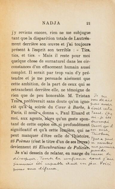 View 6. Thumbnail of Lot 220. Nadja. Exemplaire de Tzara. Magistrale et iconique reliure de Jean de Gonet. Joint: 2 lettres.