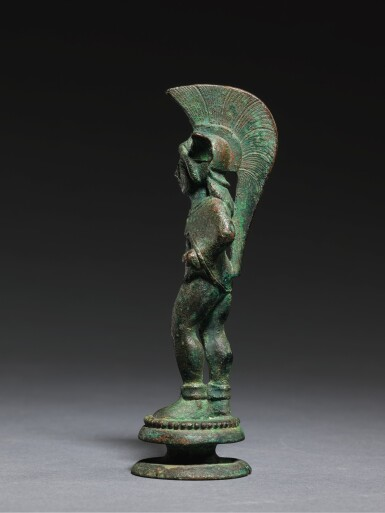 View 3. Thumbnail of Lot 8. AN ETRUSCAN BRONZE FIGURE OF A WARRIOR, CIRCA 500-475 B.C..