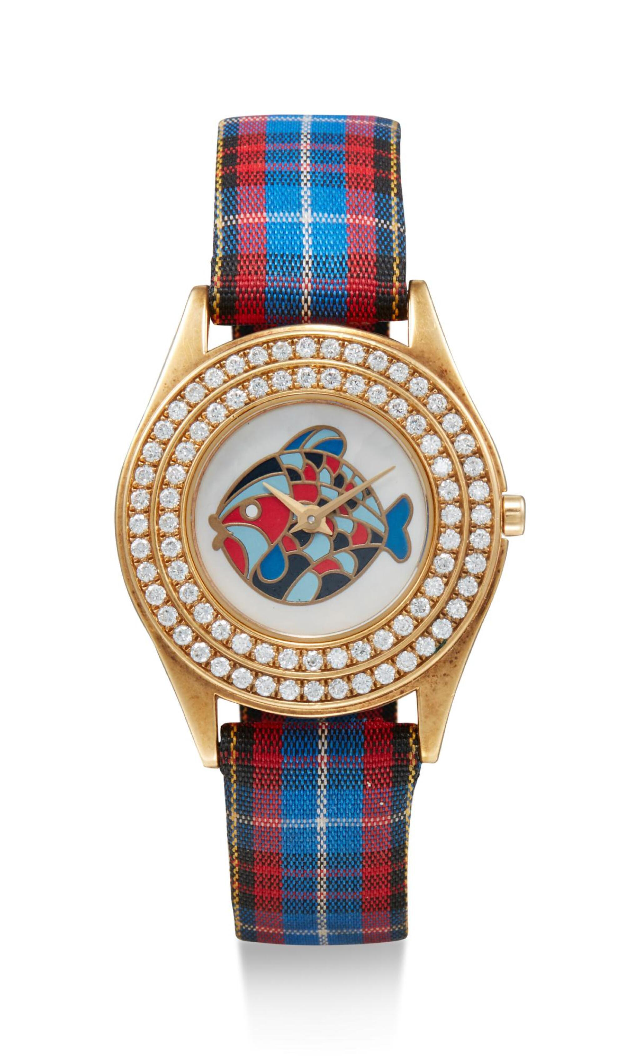 View full screen - View 1 of Lot 8079. MAUBOUSSIN  | A YELLOW GOLD AND DIAMOND-SET WRISTWATCH WITH MOTHER-OF-PEARL DIAL, CIRCA 1998.
