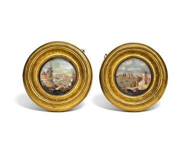 A PAIR OF ITALIAN PIETRE DURE CIRCULAR PANELS, FLORENCE CIRCA 1700