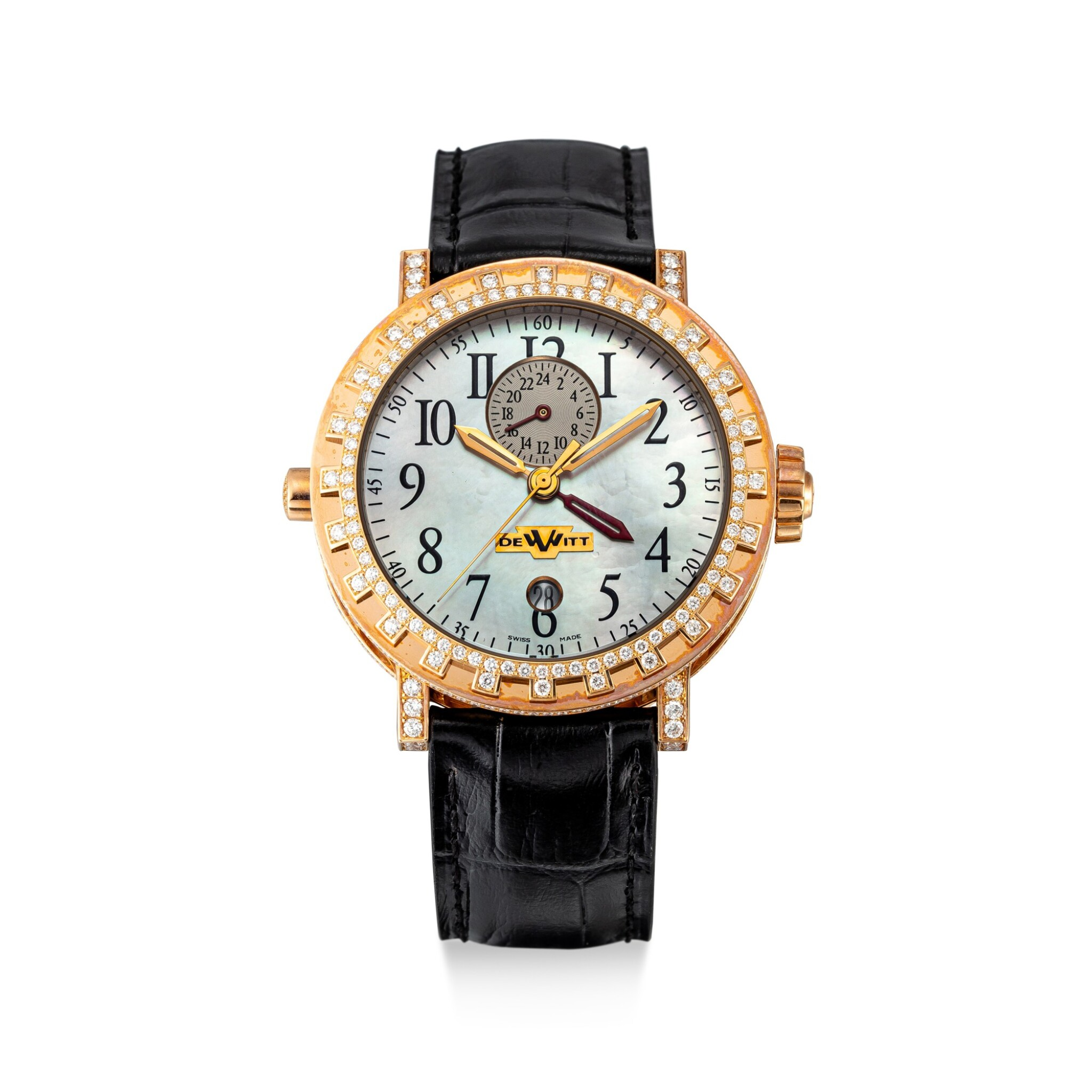 View full screen - View 1 of Lot 611. DEWITT | REFERENCE AC.2001.53/102.M650,  A LIMITED EDITION PINK GOLD AND DIAMOND-SET DUAL TIME ZONE WRISTWATCH WITH DATE AND MOTHER-OF-PEARL DIAL, CIRCA 2018.