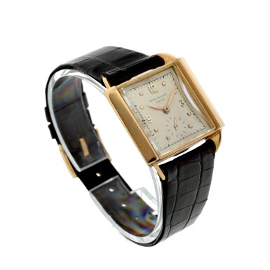 View 3. Thumbnail of Lot 141. REFERENCE 2425 'SKATER' A PINK GOLD SQUARE WRISTWATCH, MADE IN 1947.