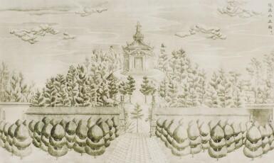 View 27. Thumbnail of Lot 362. A SET OF TWENTY PRINTS OF PALACES, PAVILIONS AND GARDENS AT YUANMING YUAN | 巴黎、1977年 《郎世寧圓明園西洋樓》 一組二十幅 水墨紙本.