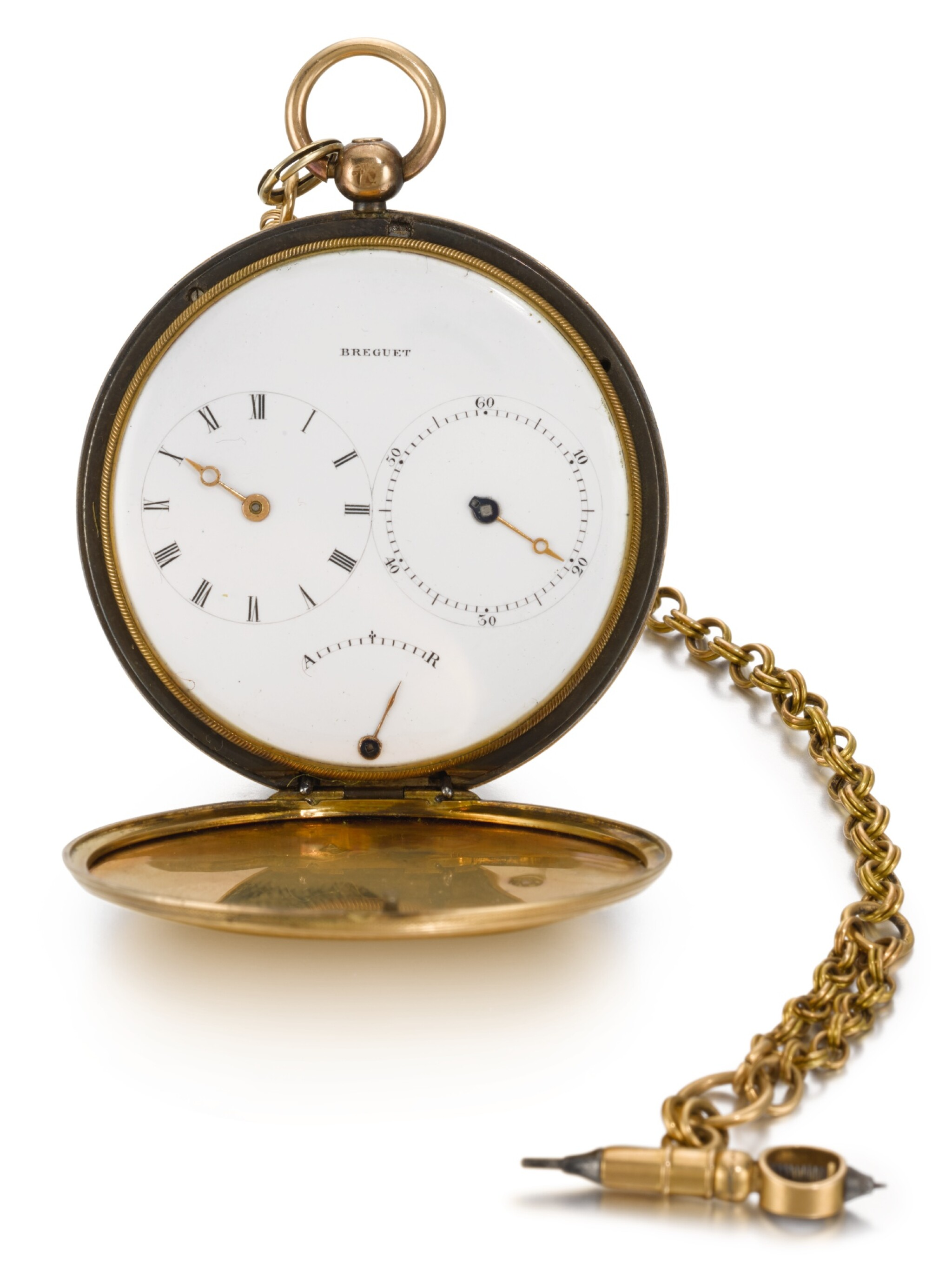 View full screen - View 1 of Lot 30. BREGUET  [ 寶璣]  | A RARE AND SLIM GOLD AND SILVER HUNTING CASED RUBY CYLINDER WATCH WITH SUBSIDIARY HOUR AND MINUTE DIALS  NO. 4582 T4130, 'MONTRE SIMPLE TRÈS PLATE' SOLD TO MONSIEUR PASCHKOFF ON 23 MAY 1829 FOR 2,200 FRANCS  [ 罕有黃金及銀製懷錶備紅寶石工字輪擒縱機芯、小時及分鐘小錶盤,編號4582 T4130,1829年5月23日以2,200法郎售出].