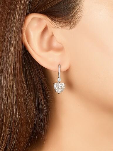View 2. Thumbnail of Lot 1744. Pair of Diamond Pendent Earrings   3.04及3.01 心形 D色 內部無暇 鑽石 耳墜一對.