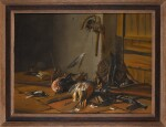 CORNELIS VAN DER MEULEN (VERMEULEN) | Still life with birds and hunting equipment in an interior