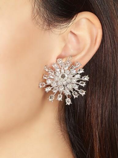 View 2. Thumbnail of Lot 1416. VAK | 'CHRYSANTHEMUMS IN SUMMER' PAIR OF DIAMOND PENDENT EARRINGS |  VAK | 'Chrysanthemums in Summer' 鑽石吊耳環一對.