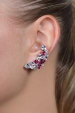 Pair of pink tourmaline, topaz and diamond ear clips, Michele della Valle